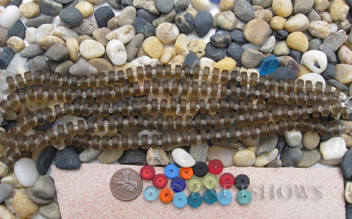Cultured Sea Glass button heishi Beads  <b>9mm</b> 15-Smoky Quartz  (8-in-str)(36-pc-str)   per  <b>5-str-hank</b>