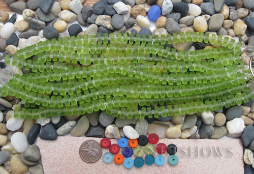 Cultured Sea Glass button heishi Beads  <b>9mm</b> 22-Olive (8-in-str)(36-pc-str)   per  <b>5-str-hank</b>