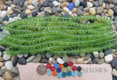 Cultured Sea Glass button heishi Beads  <b>9mm</b> 23-Peridot (8-in-str)(36-pc-str)   per  <b>5-str-hank</b>