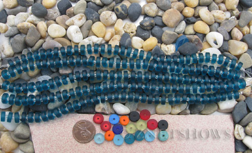 Cultured Sea Glass button heishi Beads  <b>9mm</b> 82-Teal (8-in-str)(36-pc-str)   per  <b>5-str-hank</b>
