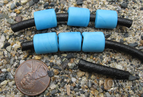 Cultured Sea Glass tube Beads  <b>12x10mm</b> 46-Opaque Blue Opal large hole (Hand-made, shape and color may vary slightly)   per  <b>6-pc-bag</b>