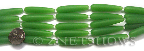 Cultured Sea Glass teardrop round Beads  <b>38x9mm</b> 44-Opaque Spring Green (5-pc-str)   per  <b>5-str-hank</b>