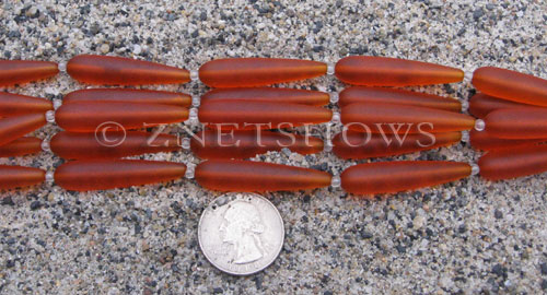 Cultured Sea Glass teardrop round Beads  <b>38x9mm</b> 83-Tangerine (5-pc-str)   per  <b>5-str-hank</b>