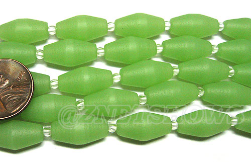 Cultured Sea Glass barrel Beads <b>About 17x8mm </b> 43-Opaque Seafoam Green  (11-pc-str) per <b>5-str-hank</b>