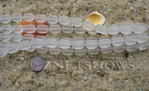 Cultured Sea Glass barrel nugget Beads  <b>13x10mm</b> 01-Crystal (13-pc-str)   per  <b>5-str-hank</b>