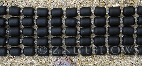 Cultured Sea Glass barrel nugget Beads  <b>10x8mm</b> 02-Jet Black (17-pc-str)   per  <b>5-str-hank</b>