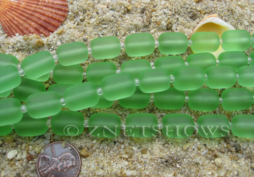 Cultured Sea Glass barrel nugget Beads  <b>13x10mm</b> 23-Peridot (13-pc-str)   per  <b>5-str-hank</b>