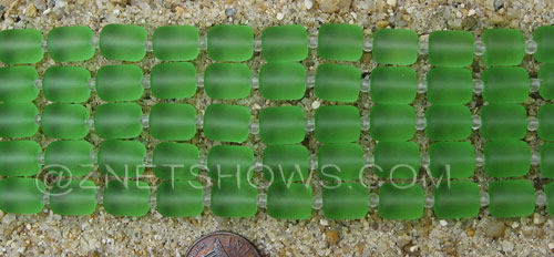 Cultured Sea Glass barrel nugget Beads  <b>10x8mm</b> 23-Peridot (17-pc-str)   per  <b>5-str-hank</b>