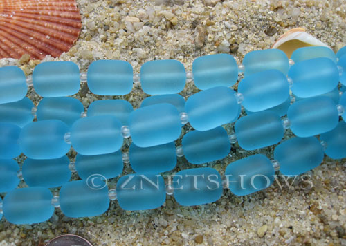 Cultured Sea Glass barrel nugget Beads  <b>13x10mm</b> 28-Turquoise Bay (13-pc-str)   per  <b>5-str-hank</b>