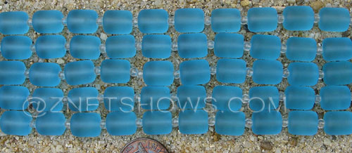 Cultured Sea Glass barrel nugget Beads  <b>10x8mm</b> 28-Turquoise Bay (17-pc-str)   per  <b>5-str-hank</b>
