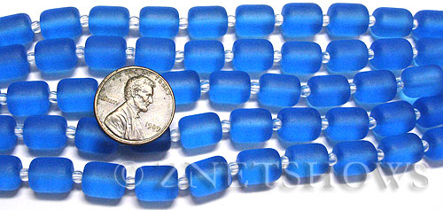 Cultured Sea Glass barrel nugget Beads  <b>10x8mm</b> 30-Pacific Blue (17-pc-str)   per  <b>5-str-hank</b>
