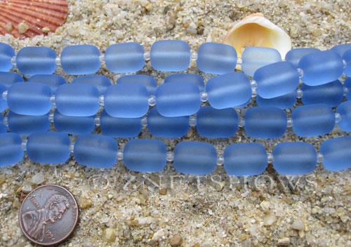 Cultured Sea Glass barrel nugget Beads  <b>13x10mm</b> 31-Light Sapphire (13-pc-str)   per  <b>5-str-hank</b>
