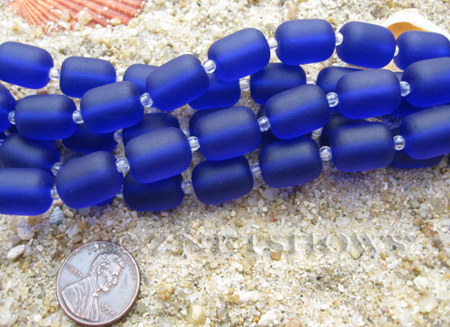 Cultured Sea Glass barrel nugget Beads  <b>13x10mm</b> 33-Royal Blue (13-pc-str)   per  <b>5-str-hank</b>
