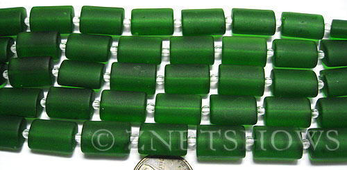 Cultured Sea Glass rectangle puffed Beads  <b>14x10mm</b> 25-Shamrock    per  <b>12-pc-str</b>