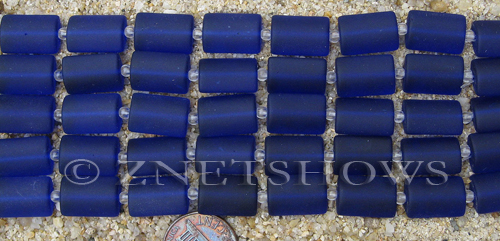 Cultured Sea Glass rectangle puffed Beads  <b>14x10mm</b> 33-Royal Blue    per  <b>12-pc-str</b>