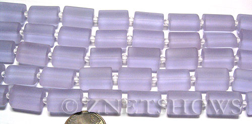 Cultured Sea Glass rectangle puffed Beads  <b>14x10mm</b> 39-Periwinkle Changes    per  <b>12-pc-str</b>