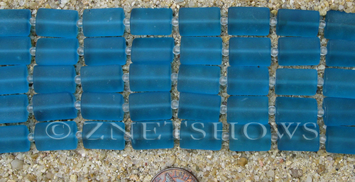 Cultured Sea Glass rectangle puffed Beads  <b>14x10mm</b> 82-Teal    per  <b>12-pc-str</b>