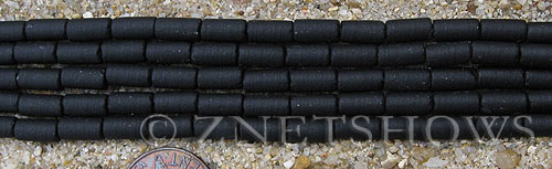 Cultured Sea Glass tube Beads  <b>9x4mm</b> 02-Jet Black (strand length 8 inches)   per  <b>5-str-hank</b>