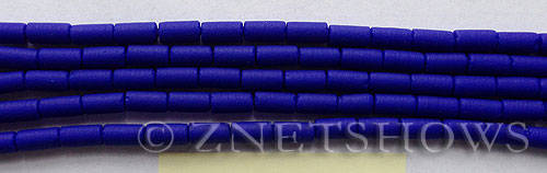 opaque royal blue color Cultured Sea Glass tube Beads  <b>9x4mm</b> (strand length 8 inches)   per  <b>5-str-hank</b>
