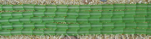 Cultured Sea Glass tube Beads  <b>9x4mm</b> 23-Peridot (strand length 8 inches)   per  <b>5-str-hank</b>