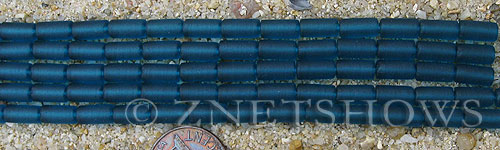 Cultured Sea Glass tube Beads  <b>9x4mm</b> 82-Teal (strand length 8 inches)   per  <b>5-str-hank</b>