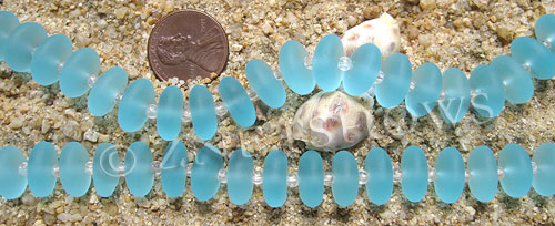 Cultured Sea Glass rondelle Beads  <b>12x3.5mm</b> 28-Turquoise Bay (8-in-str 28-pcs)   per  <b>8-in-strand</b>