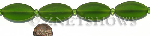 Cultured Sea Glass oval Beads  <b>35x18mm</b> 22-Olive    per  <b>6-pc-str</b>