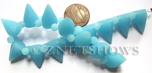 Cultured Sea Glass Spike Beads  <b>18x12mm</b> 46-Opaque Blue Opal cone shape with double hole beads   per  <b>8-inch (15-pc-str)</b>