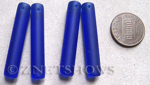 Cultured Sea Glass earring cylinder Pendants  <b>38x8mm</b>  33-Royal Blue column top side drilled   per  <b>4-pc-bag</b>