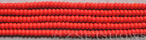 opaque orange color Cultured Sea Glass rondelle Beads  <b>4x3mm</b> (58 pcs in 8-in-str)   per  <b>5-str-hank</b>