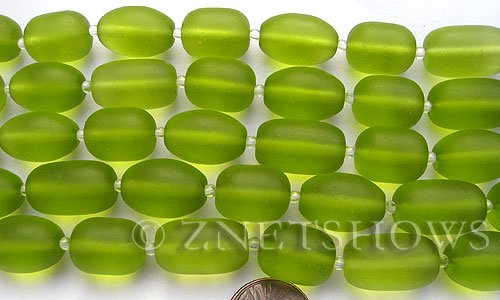 Cultured Sea Glass nugget Beads  <b>16-20x12mm</b> 22-Olive semi-free form nugget   per  <b>8-in-str</b>