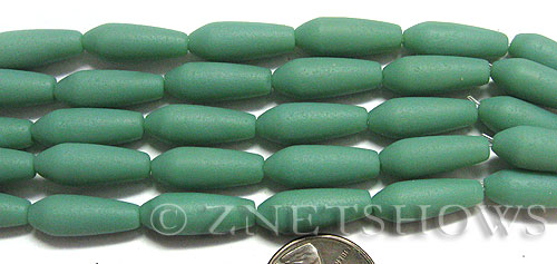 special opaque color Cultured Sea Glass teardrop round Beads  <b>18x6mm</b> (4-in-str)(6-pc-str)   per  <b>5-str-hank</b>