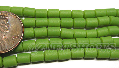 Cultured Sea Glass tube Beads <b>about 6x4mm</b> Other Colors  opaque spring green color (strand length 8 inches) per <b>5-str-hank</b>