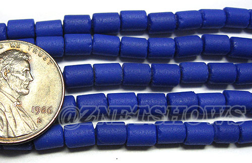 Cultured Sea Glass tube Beads <b>about 6x4mm</b> Opaque royal blue color (strand length 8 inches) per <b>5-str-hank</b>