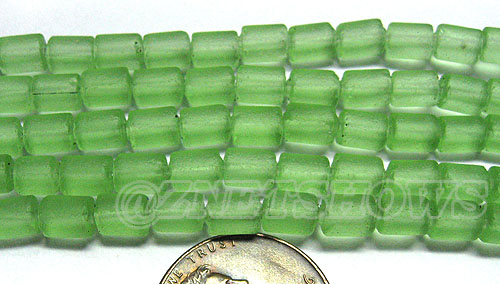 Cultured Sea Glass tube Beads <b>about 6x4mm</b> 23-Peridot  (strand length 8 inches) per <b>5-str-hank</b>