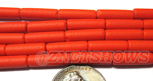 Cultured Sea Glass tube Beads <b> 14x4mm</b> Other Colors  opaque orange color (strand length 8 inches) per <b>5-str-hank</b>