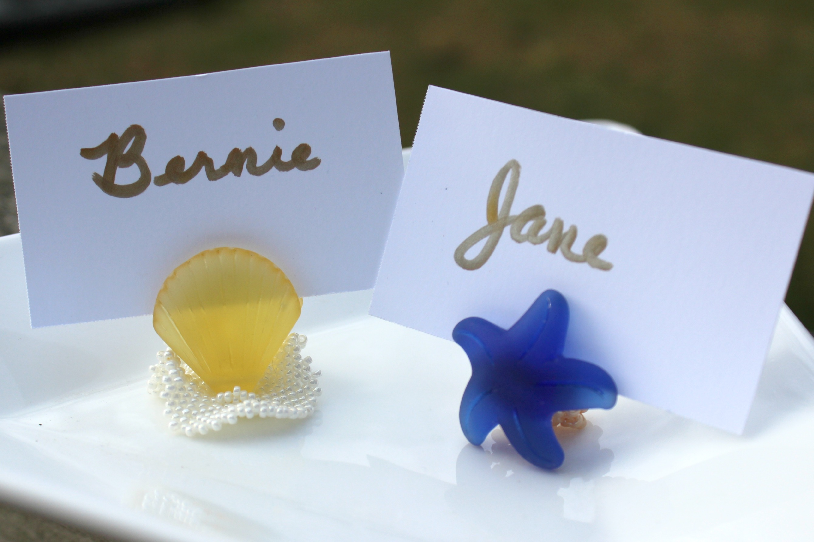 Sea Glass Place Card Holders by Amy Severino