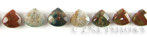 fancy jasper faceted teardrop puffed Beads <b>13x13mm</b>  tip-drilled   per   <b> 30-pc-str</b>