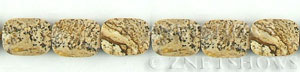 picture jasper faceted rectangle puffed Beads <b>9x12mm</b>  length-drilled   per   <b> 15.5-in-str</b>
