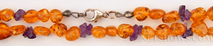 amber necklace nugget Beads <b>about 8x5mm</b> golden yellow with amethyst chips necklace    per   <b> 16-Inch Necklace</b>