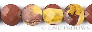 Other stone & material mookaite, faceted coin puffed Beads <b>14mm</b>     per   <b> 15.5-in-str</b>