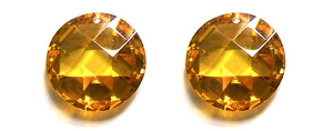 Other stone & material cubic zirconia, golden color coin Pendants <b>18mm</b> faceted    per   <b> piece</b>