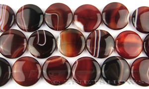 agate sardonyx, dark color coin puffed Beads <b>25mm</b>     per   <b> 8-in-str</b>
