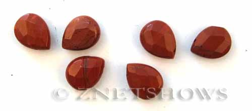 red jasper faceted teardrop puffed Beads <b>16x12mm</b>  tip-drilled   per   <b> 6-pc-bag</b>
