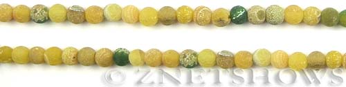 Fire agate dyed yellow with green color round Beads <b>about 4mm</b>     per   <b> 8-in-str</b>