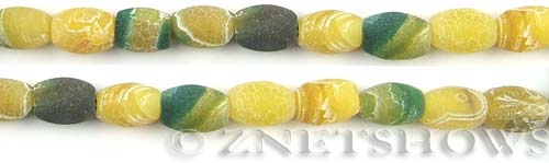 Fire agate dyed yellow with green color barrel Beads <b>about 12x8mm</b>     per   <b> 8-in-str</b>