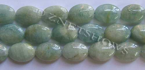 Other stone & material aquamarine oval puffed Beads <b>about 18x13mm</b>     per   <b> 8-in-str</b>