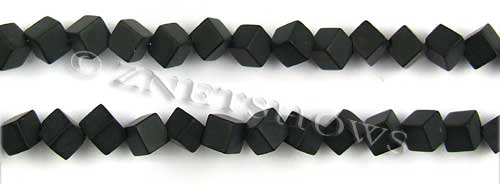black onyx matte finished cube Beads <b>6mm</b>     per   <b> 8-in-str</b>