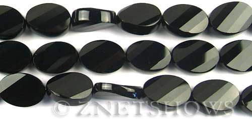 black onyx faceted twisted oval Beads <b>18x13mm</b>     per   <b> 8-in-str</b>
