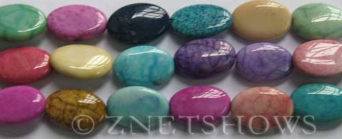 agate dyed Rainbow Color oval puffed Beads <b>15x10mm</b>     per   <b> 8-in-str</b>